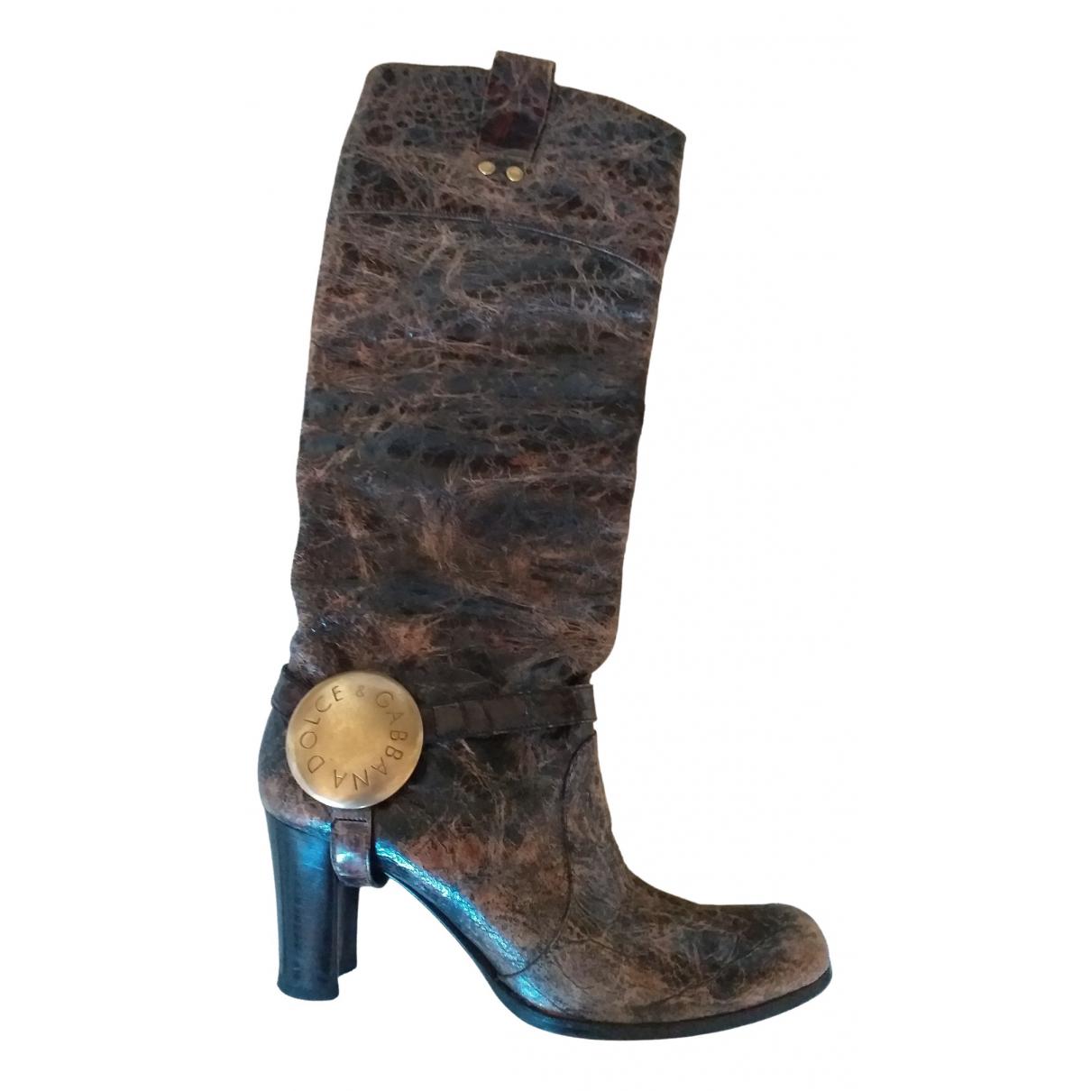Dolce & Gabbana \N Stiefel in  Braun Leder