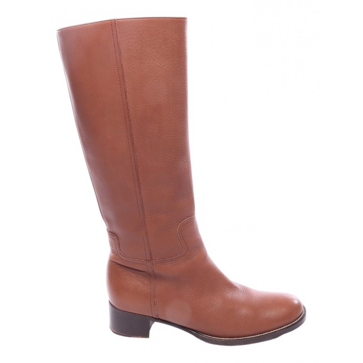 Miu Miu \N Brown Leather Boots for Women 40.5 EU
