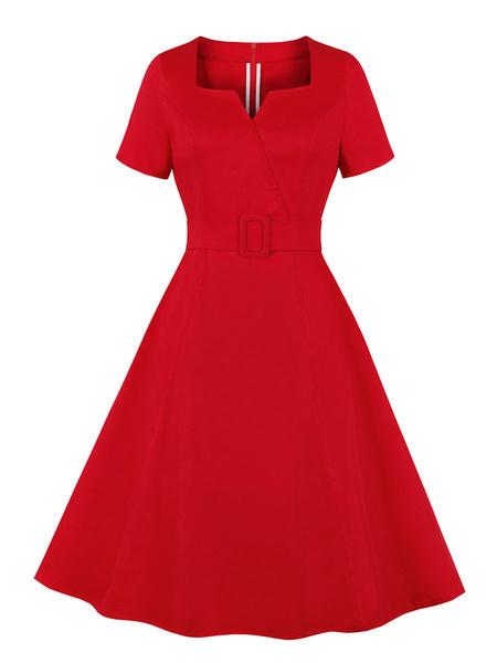 Milanoo Vestido vintage de mujer 1950 de manga corta roja con cuello en V Rockabilly Una linea de vestido de algodon hasta la rodilla