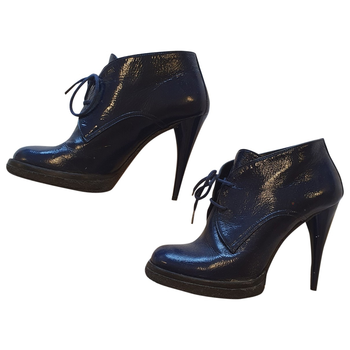 Balenciaga \N Blue Patent leather Ankle boots for Women 37 EU