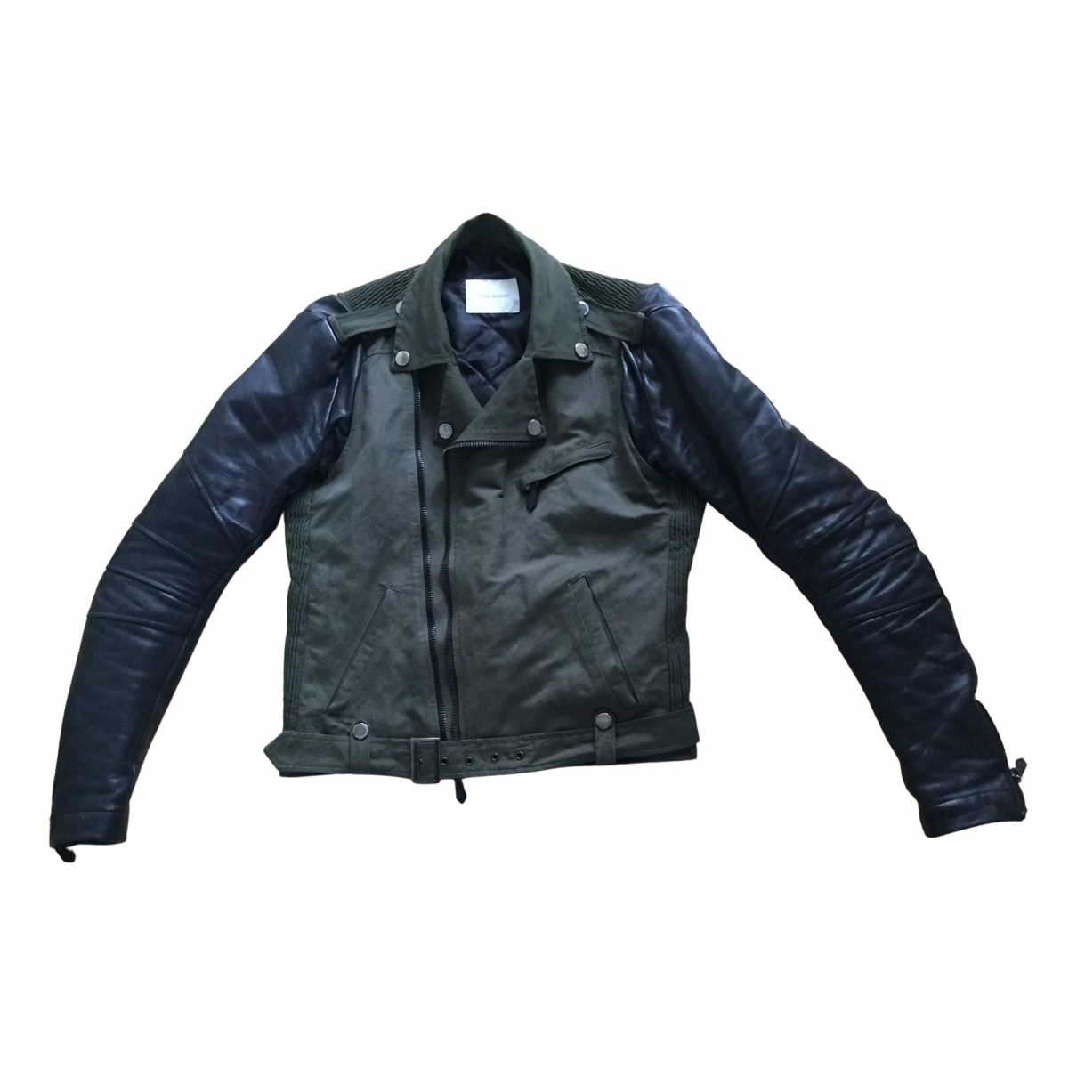 Pierre Balmain N Khaki Leather jacket  for Men 48 FR