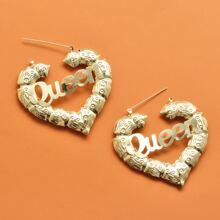 Letter Decor Heart Hoop Earrings