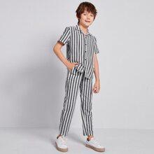 Shirt mit Reverskragen und Streifen & Hose Set