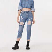 Jeans mit umgesaeumtem Saum, Riss und Kontrast Netzstoff