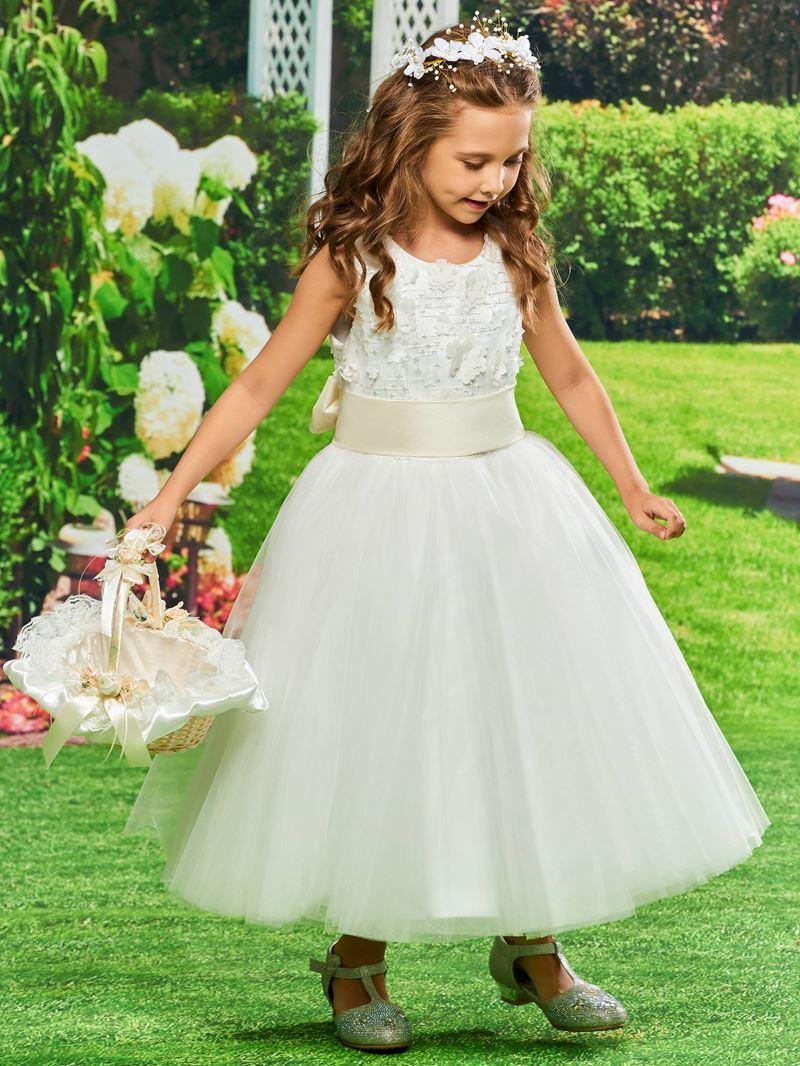Ericdress Bowknot Lace Tea Length Flower Girl Dress