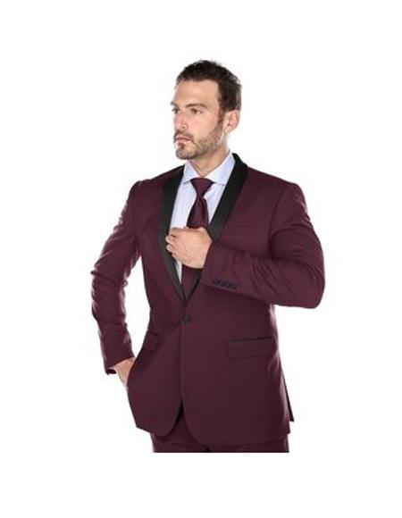 Mens Single breasted shawl Lapel Slim Fit Polyester Suit In Burgundy