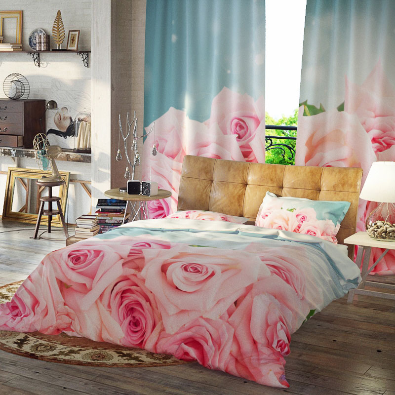 Champagne Rose Reactive Printing Duvet Cover Set Three-Piece Set Polyester Bedding Sets Wear-resistant Endurable