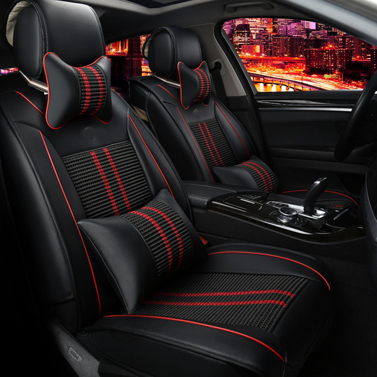 11Pcs PU Car Seat Cover Front+Rear Cushion 5-Seats +Pillow Full Surround
