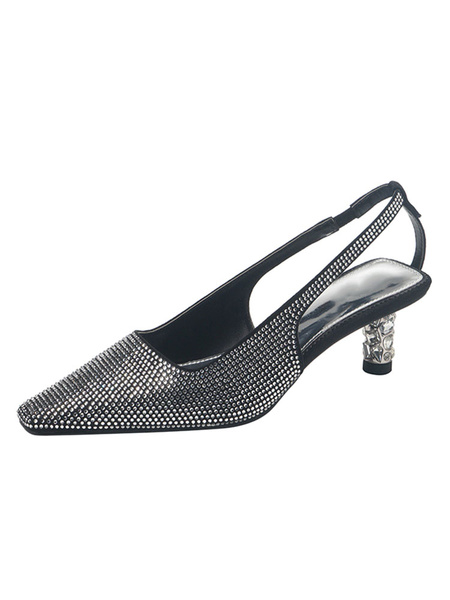 Milanoo Kitten Heel Pumps Mujeres Square Toe Rhinestones Slingbacks Pumps Black Party Shoes