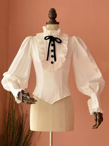 Milanoo Blusa de lolita de algodon mezclado con escote Ilusion con manga larga Color liso con cordones Estilo Rococo