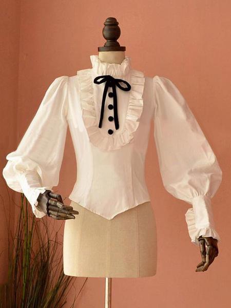 Milanoo Rococo Lolita Blouse Puff Sleeve Stand Collar Ruffles Pink Lolita Top