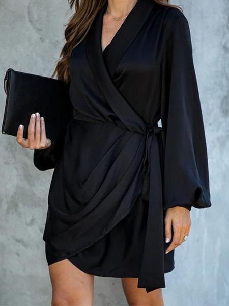 YOINS Black Belted Wrap Design V-neck Long Sleeves Dress