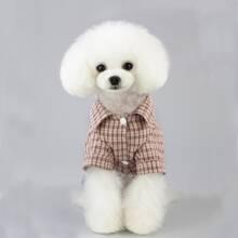 Plaid Pattern Belted Dog Jumpsuit