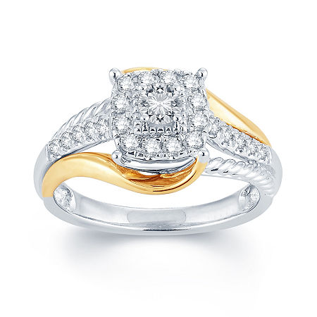 1/2 CT. T.W. Diamond 14K Two-Tone Gold Engagement Ring, 8 , No Color Family