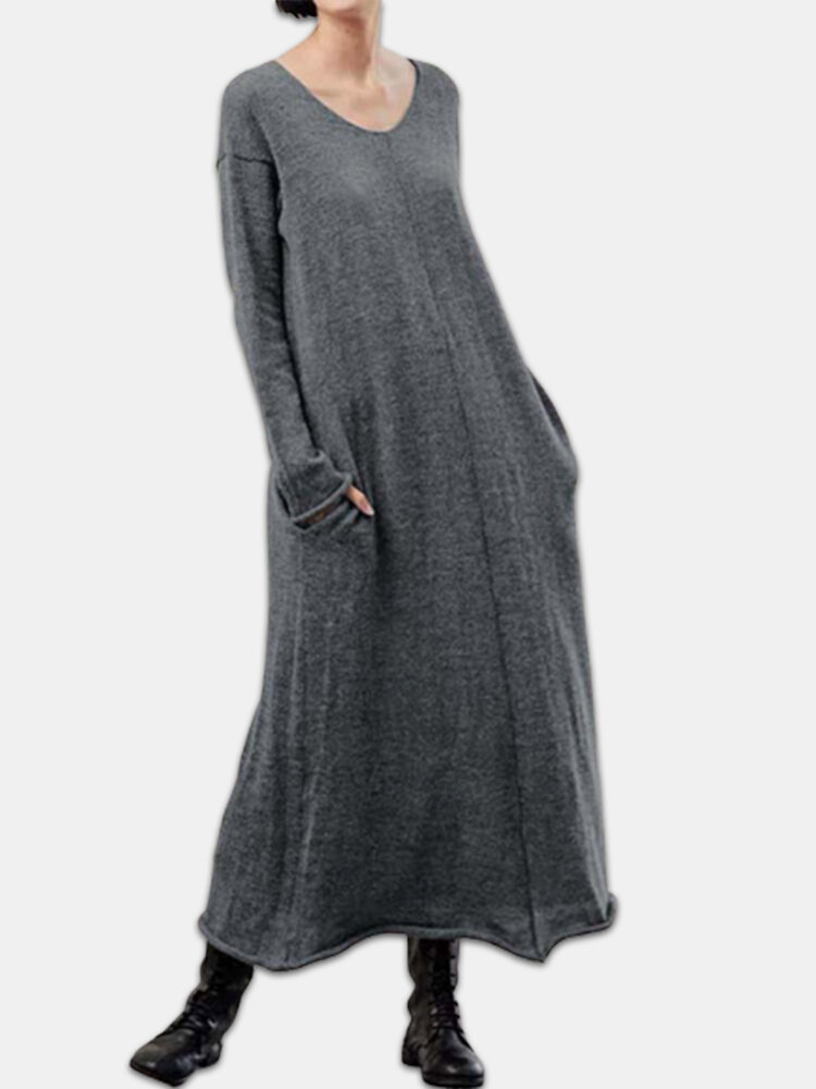Knit Long Sleeve Plus Size Casual Dress with Pokcets