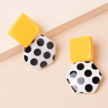 Polka Dot Geometric Drop Earrings