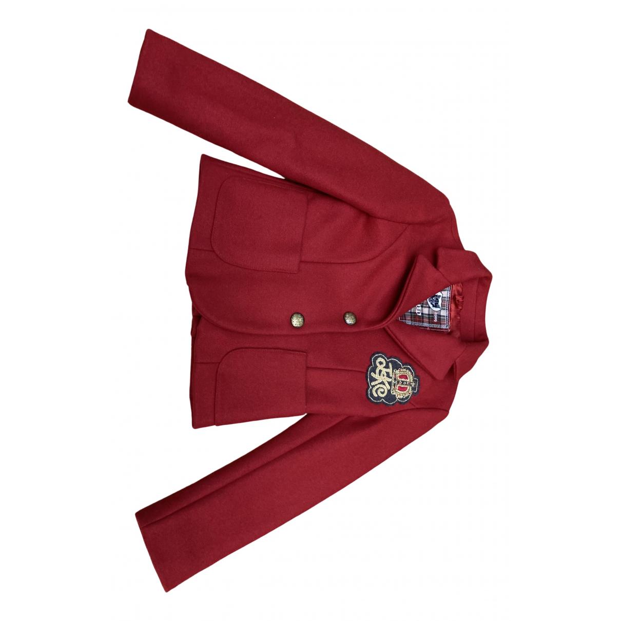 Monnalisa - Blousons.Manteaux   pour enfant en laine - rouge