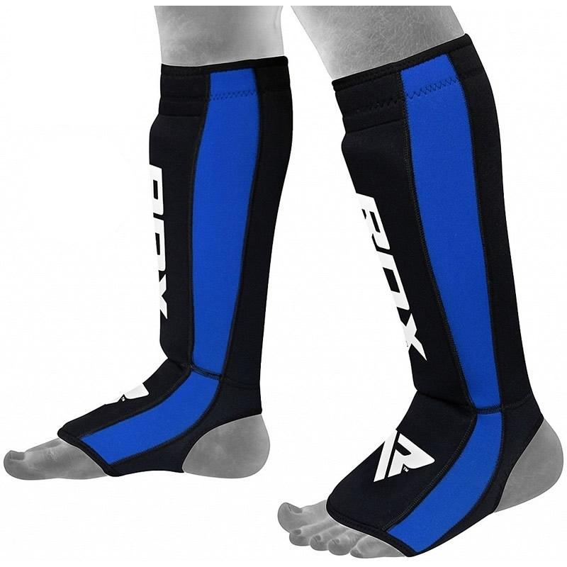 RDX T2 MMA Protege Tibias Grande/X Grande  Bleu Cuir PU