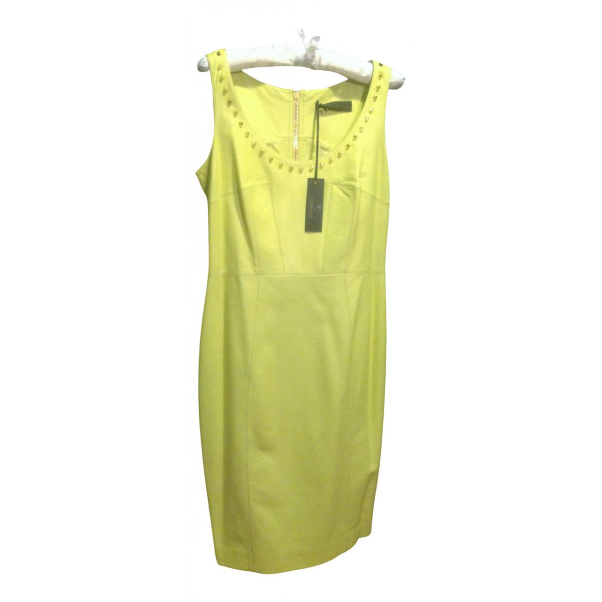Versace \N Kleid in  Gelb Leder