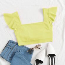 Square Neck Ruffle Trim Knot Back Crop Top