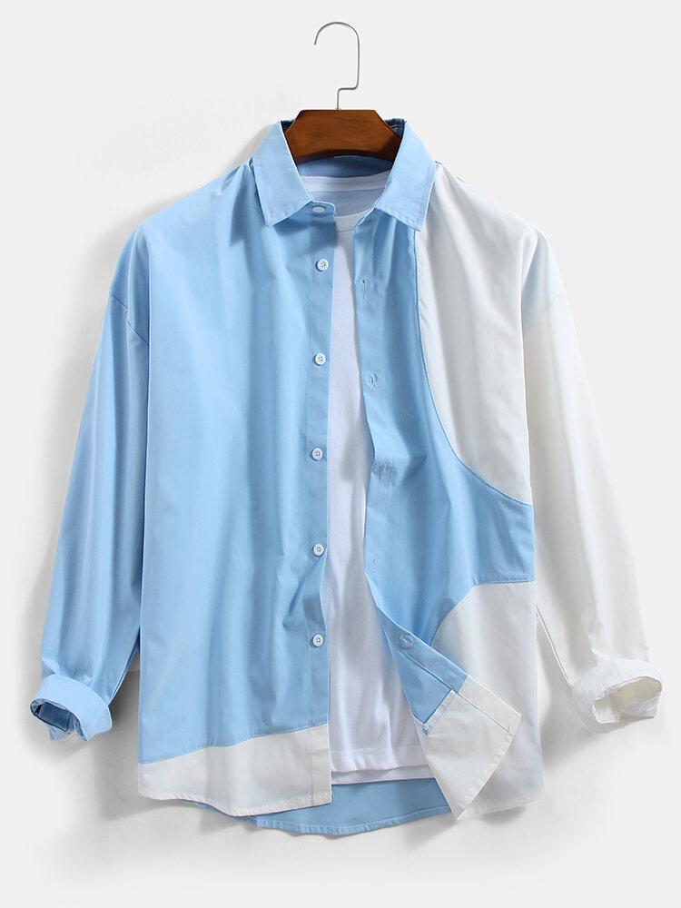 Mens Patchwork Color Block Cotton Casual Long Sleeve Shirts