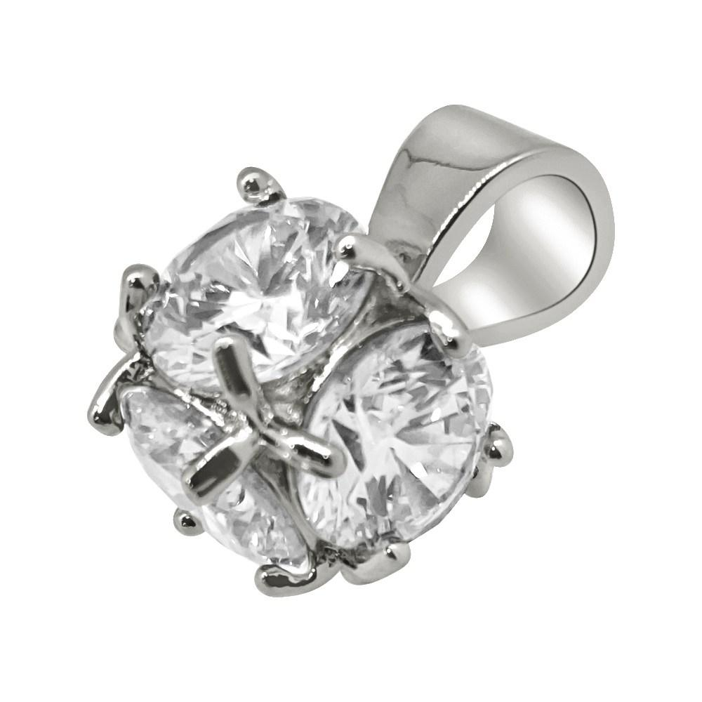 3D CZ Diamond Rhodium Bling Bling Solitaire Pendant