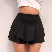 Shorts bajo fruncido a capas de cintura ancha