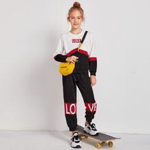 Pullover mit Buchstaben Muster, Farbblock & Jogginghose Set