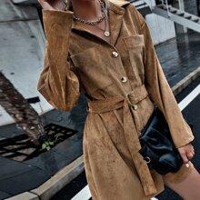 Hemdkleid mit Taschen Flicken, Schnalle und Guertel