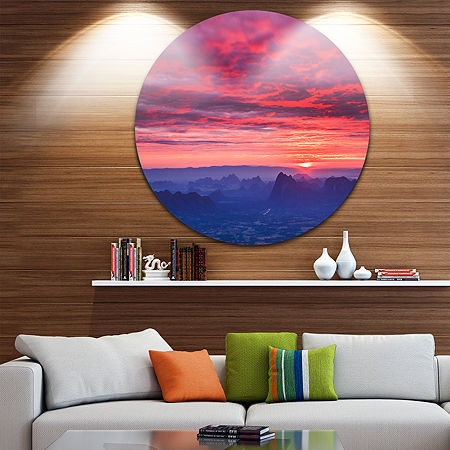 Design Art Red and Blue Winter Mountains Circle Metal Wall Art, One Size , Red