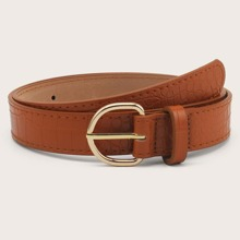 Croc Pattern Metal Buckle Belt