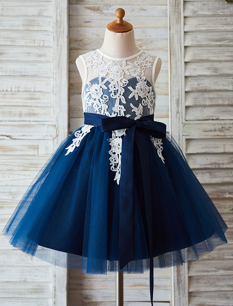 Milanoo Lace Flower Girl Dress Tutu Dress Illusion Neckline Ball Gown Knee-Length Toddler's Pageant Dress