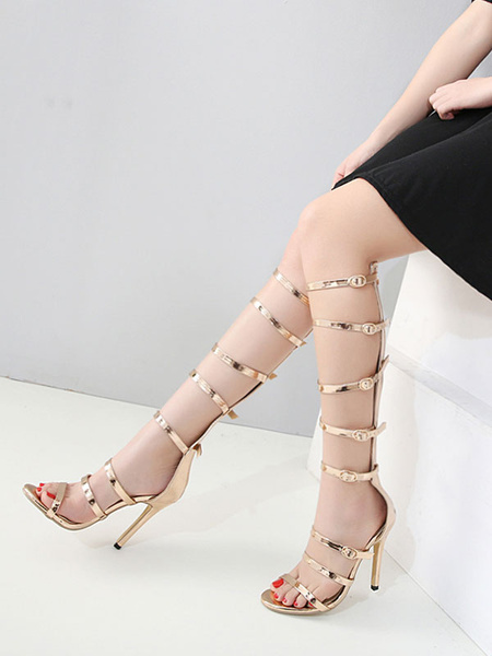 Milanoo Gold Gladiator Sandals Open Toe Zip High Heel Sandals Women Sandal Shoes