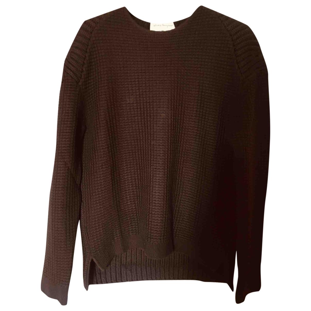 Salvatore Ferragamo \N Pullover.Westen.Sweatshirts  in  Braun Wolle