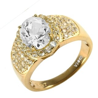 Gold Over Sterling Silver with Natural White Topaz Halo Ring (8)