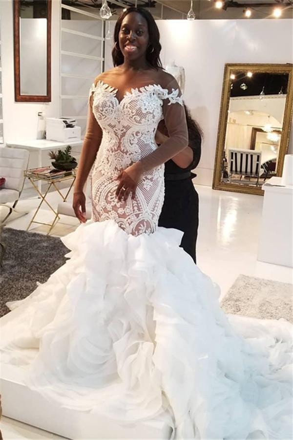 Apliques de encaje sirena vestidos de novia de tul | Vestidos de novia delicados de manga larga