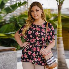 Plus Allover Floral Print Belted Blouse