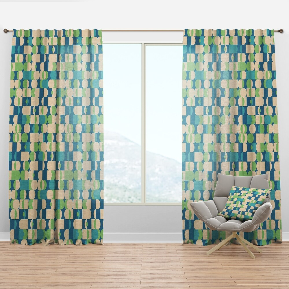 Designart 'Retro Abstract Pattern I' Mid-Century Modern Curtain Panel (50 in. wide x 95 in. high - 1 Panel)