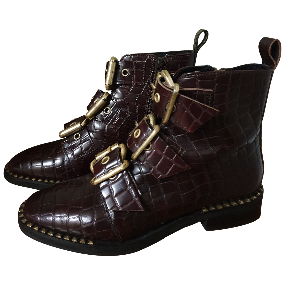tophop \N Burgundy Leather Ankle boots for Women 36 EU