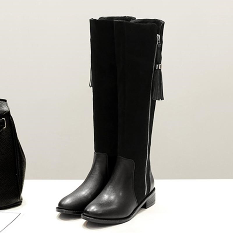 Ericdress Side Zipper Round Toe Patchwork Fringe Women's Knee High Boots