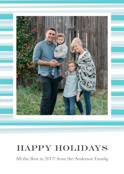 Holiday Photo Cards 5x7 Cards, Premium Cardstock 120lb with Elegant Corners, Card & Stationery -Blanket Border Happy Holidays