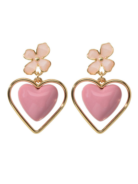 Milanoo Earrings Light Pink Zinc Alloy Heart Shaped Pierced Women Jewelry