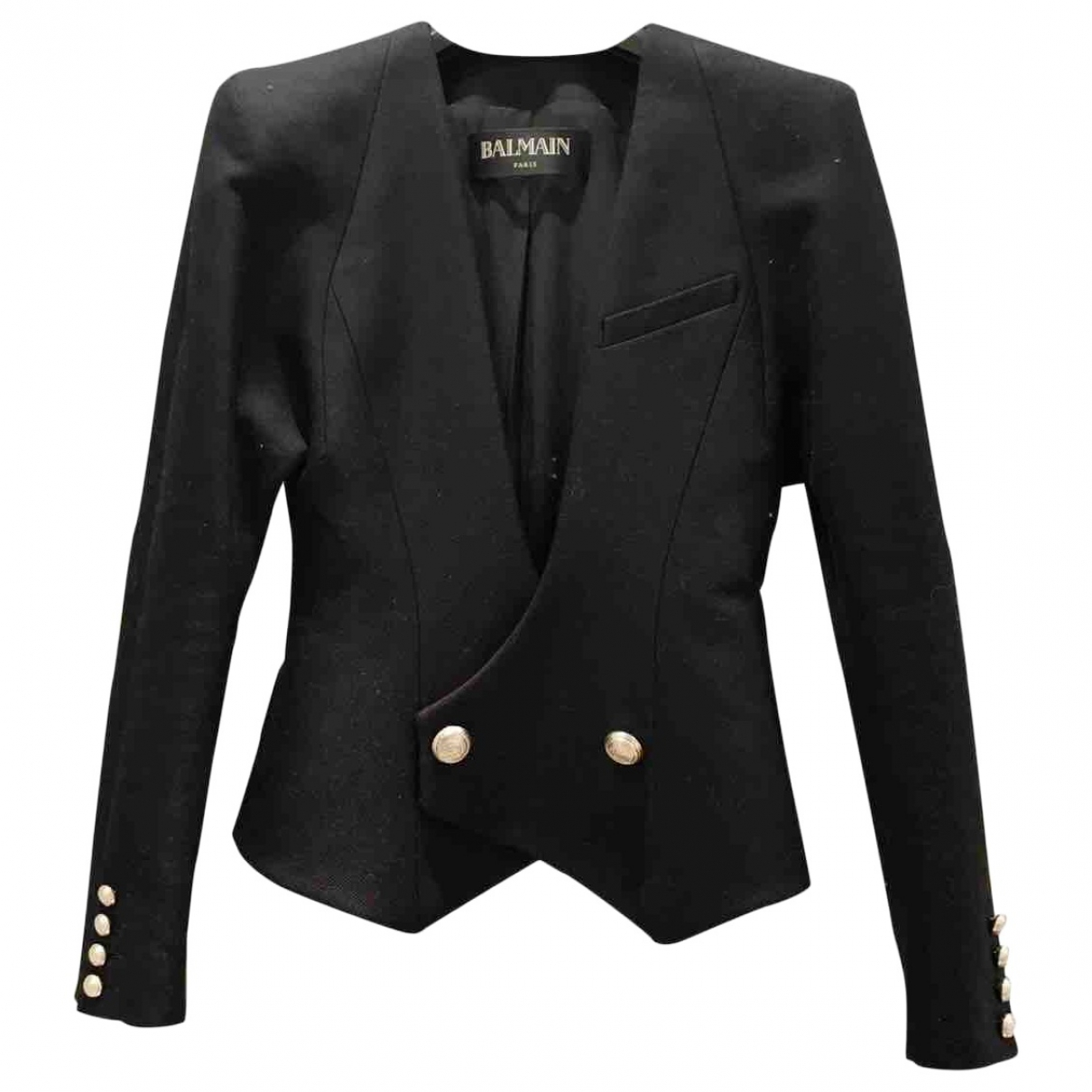 Balmain \N Black Cotton jacket for Women 36 FR
