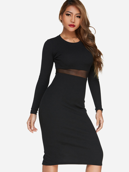 Yoins Black Mesh See Through Slit Sexy Midi Dress