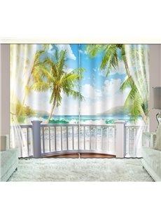3D Waves and Blue Sky Printed Beach Scenery Custom Living Room Curtain
