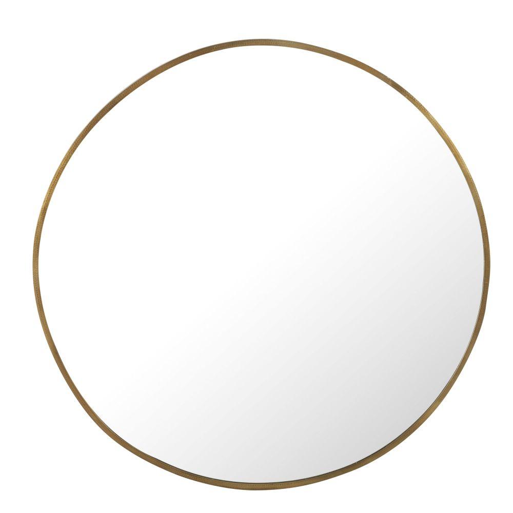 Runder Spiegel aus gehaemmertem Metall, messingfarben D130