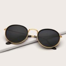 Sonnenbrille mit Metall Rahmen und runden Linsen