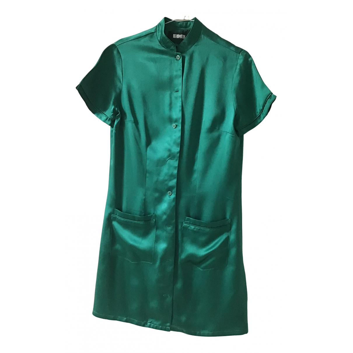 Reformation \N Green Silk dress for Women 34 FR