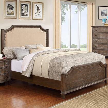 Emilia Collection EM3800-K King Size Panel Bed with Upholstered Headboard  Nail head Trim  Distressed Detailing  Tropical Hardwoods and Wood Veneers