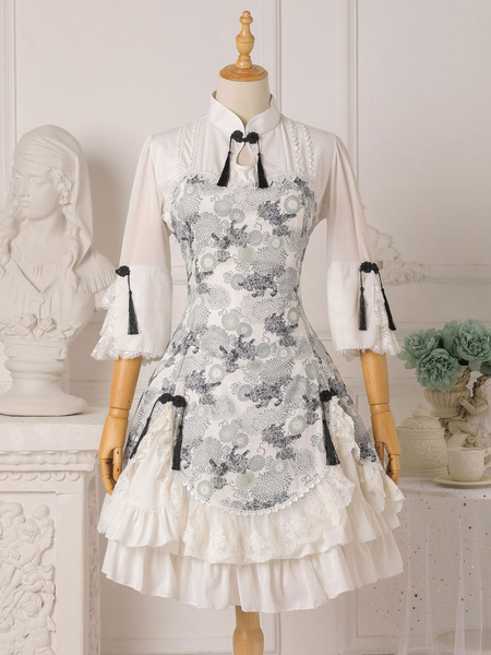 Milanoo Chinese Style Lolita OP Dress Floral Print Qi Lolita One Piece Dresses